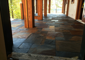 Slate tile flooring installed on outside porch by Pro Floor & Tile.