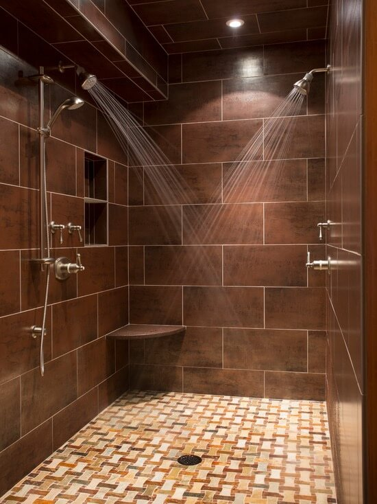 Custom slate tile shower with mosiac tile flooring in Breckenridge, MN. Installed by Pro Floor & Tile.