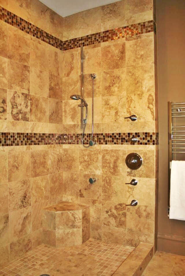 Custom slate tile shower with glass tile and mosiac tile accents in Wahpeton, ND. Installed by Pro Floor & Tile.