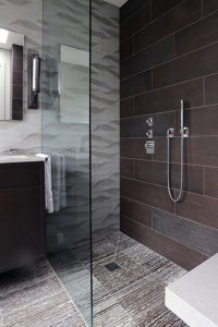 Custom Tile Shower with Glass Enclosure & Bathroom Flooring - Completed by Pro Floor & Tile